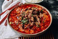 Sichuan Boiled Beef (水煮牛肉 - Shuizhu Niurou) - The Woks of Life Veal Recipes, Asian Recipes, Crockpot Recipes, Boiled Beef, Wok Of Life, Pho Recipe, Mushroom Dish, Thing 1, Skirt Steak