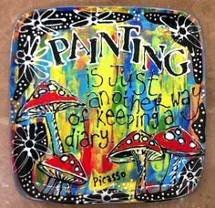 Ceramics plate by Laura Fraedrich using Duncan Ceramics    http://www.thepeculiarpalette.com/the-peculiar-palette/2013/01/i-just-cant-get-enough-of-you-pablo.html