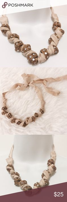 """⭐️ Unique Antique Gold and Cream Ribbon Necklace Handmade stunner! Grosgrain ribbon knotted with antique gold and diamonds tubbing. Extra long ribbon allows for multiple styling options. 52"""" total length. Fashion jewelry Jewelry Necklaces"""