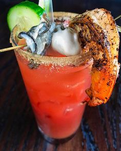 Bloody Caesar! Clamato, raw oyster , cold shrimp! #restaurant #seafood #breakfast #brunch #lunch #dinner #happyhour bar #eatlocal  #instagood #instafood #foodstagram #food #foods #foodie #foodpics #foodlover  #foodstagram  #foodpic  #foodies #eat #eating #eatwell #drink #drinks #beer #wine #cocktail #yum #yummy #nom  #delicious