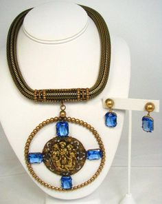 Joseff of Hollywood Round Cherub Necklace and Earrings Set
