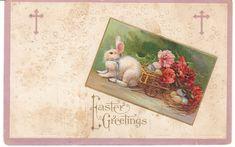 Vintage Postcard Easter Bunny Rabbit Pulls Flower Cart Embossed 1912 #Easter