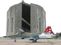 FAB aircraft in front of the last of the world's old zeppelin hangars. - Santa Cruz Air Base - Rio de Janeiro