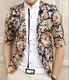 British style lapel color block abstract print 3/4 length sleeves polyester blazer