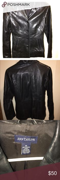 Black leather blazer Black, 4 button, slash pocket leather blazer. Has been worn, only real sign of wear is on right elbow, see picture. Ann Taylor Jackets & Coats Blazers