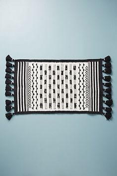 Tasseled Pedana Bath Mat by Anthropologie in Black, Road Texture, Roof Cleaning, Cozy Room, Beautiful Day, Tassels, Finding Yourself, Hand Weaving, Black And White, Bath Rugs