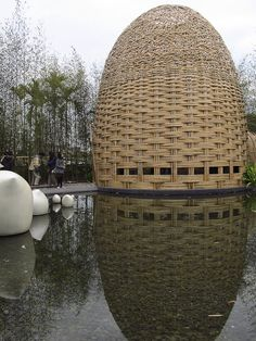 Shame on me.The Taipei Flora Expo 2011 offers many beautiful sights that spread over huge areas in the Taipei city. This is the outdoor garden that was constructed to signify friendship from the Taiwanese people. by Tian Mu Bamboo Architecture, Amazing Architecture, Architecture Design, Bamboo House, Bamboo Garden, Wicker Shelf, Wicker Man, Wicker Couch, Wicker Planter