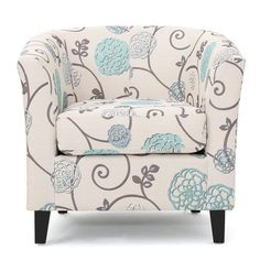 Noble House Pierson Floral Fabric Club Accent Chair, White and Blue Image 2 of 8 Accent Chairs For Sale, Bedroom Chair, Barrel Chair, Blue Fabric, Floral Fabric, Toss Pillows, Living Room Chairs, Living Area, Club Chairs