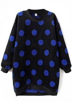 The sweatshirt featuring high-low design,graphic polka dot pattern. Cozy but still fashion, try this sweatshirt from OASAP and pair it with a pair of jeans would cr High Low, Fashion Sweatshirts, Polka Dots, Street Style, Pullover, Hoodies, My Style, Long Sleeve, Womens Fashion
