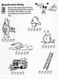 KleuterDigitaal - wbb woordstukjes brand weer slang Community Workers, Community Helpers, Preschool Lessons, Fire Safety, Firefighter, Worksheets, Ambulance, Teaching, Help Help