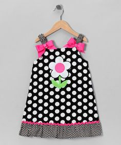 Take a look at this Black & White Daisy Polka Dot Dress - Infant, Toddler & Girls by Youngland on #zulily today!