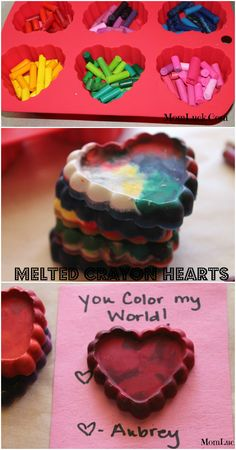 Homemade Valentine's Day Cards for Kids. They are so easy to make you just need old crayons. These melted crayon hearts make great kids homemade Valentine's Day cards