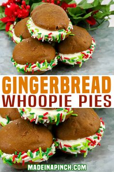 Add these soft, cake-like, sweet yet spicy, gingerbread whoopie pies as a sandwich-like cookie with decadent cream cheese filling to your holiday baking list this year! Perfectly spiced cake-like gingerbread cookies and creamy, rich cream cheese filling. | Made in A Pinch @madeinapinch #gingerbreadrecipes #christmascookies #cookiewap #holdiaybaking #bakinwithkids #bestwhoopiepiesrecipe #whoopiepierecipes #holidaywhoopiepies #madeinapinch