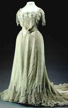 Evening dress designed by Nadezhda Lamanova from sea-green velvet, 1900.