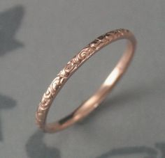 Thin Rose Gold Wedding Ring--14K Rose Gold Rococo in the Disco Wedding Band--Solid 14K Gold Swirl Patterned Ring Custom made in YOUR Size by debblazer on Etsy https://www.etsy.com/listing/119433084/thin-rose-gold-wedding-ring-14k-rose
