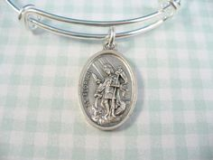 Saint Florian Firefighter Medal Silver Bangle by DesignsBySuzze, $18.00