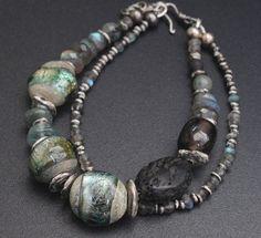 Lampwork and silver 2-strands bracelet / 'Norwegian woods
