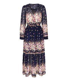 Look at this #zulilyfind! Navy Floral Surplice Maxi Dress #zulilyfinds
