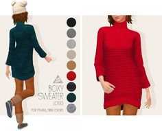 Tamo: Boxy Sweater Long • Sims 4 Downloads