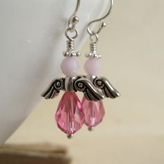 Pink Angel Earrings Breast cancer awareness by dkjewels on Etsy, $21.00  1/3 is donated to breast cancer