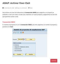 Para activar una User-Exit utilizaremos la transacción CMOD