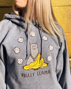 Shop our Best Seller this season, Volley Llama! Now available in sweatshirts, long sleeve tees, and short sleeve tees at No Dinx Volleyball! Volleyball Sweatshirts, Funny Volleyball Shirts, Volleyball Outfits, Volleyball Quotes, Volleyball Gifts, Volleyball Players, Beach Volleyball, Volleyball Setter, Volleyball Nails
