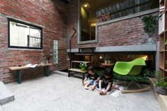 An Historic House in Taiwan with a Central Sunroom - Design Milk Home Interior Design, Interior Architecture, Interior Decorating, Dezeen Architecture, Dark House, Light House, Small Windows, House Inside, Brick Building