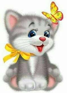 Kitten Cartoon, Cartoon Pics, Cute Animal Drawings, Cute Drawings, Cute Images, Cute Pictures, Kitten Images, Teddy Bear Pictures, Cat City