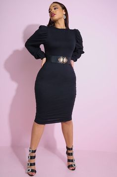 f449bb4b047b Gray Black Ribbed Long Sleeve Bodycon Midi Dress. Available in both missy  and plus sizes. REBDOLLS