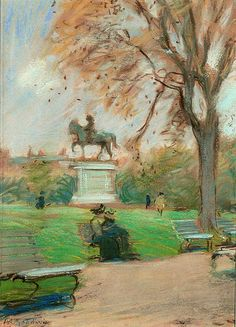 """Sitting in the Park, Boston Commons,"" Arthur Clifton Goodwin, pastel on paper, 11 ¼"" × 8 ½"", M. Ford Creech Antiques and Fine Art."