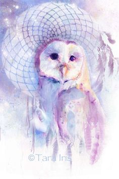 Dreamcatcher Barn Owl watercolor print by PeripheralEnvisions, $22.00