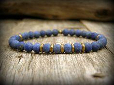 Beaded stretch bracelet for men blue lapis gemstone jewelry