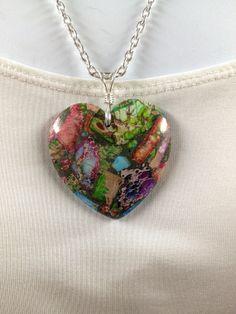 Sea Jasper heart necklace  Sea jasper pendant  by UniquelyArdath, $24.99