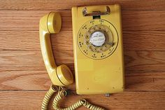 Vintage Rotary Phone Yellow Rotary WALLTelephone by TheNewtonLabel, $29.00-  had one just like this growing up in Montrose, NY!