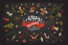 Happy Holidays Card Template by TrueLettering on @creativemarket
