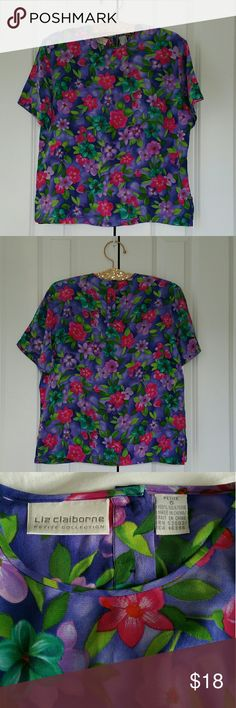 """Liz Claiborne Floral Silk Button Back Blouse Size is 6 Petite. 100% silk. Petite collection. 3 buttons on the back.  Colors are purple, pink, green, turquoise, orange, and white. Measures 20.5"""" across the bust and 24"""" length.   No trades. If you have any questions please ask.  If you don't like the price please use the offer button.  Have an amazing day! """"Great Sense of Style"""" Liz Claiborne Tops Blouses"""
