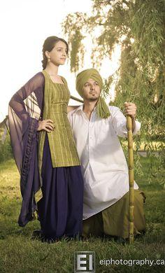 Andy and I should do a picture pose like this! Punjabi Salwar Suits, Punjabi Dress, Patiala Salwar, Anarkali, Indian Suits, Indian Attire, Indian Wear, Punjabi Fashion, Asian Fashion