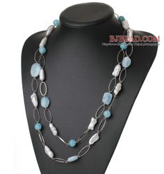 Beautiful Long Style Irregular Shape White Pearl and Natural Aquamarine Necklace - Bjbead.com----$35.52