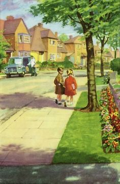 Walking down the road - They Walk down The Road to Ann's House -The Party - Ladybird Books 1960