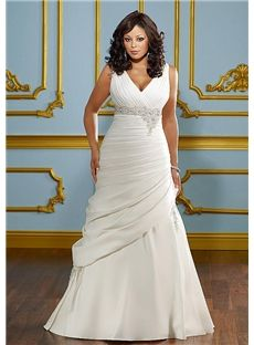 Brisbane Charming Line V Neck Straps Appliques Chapel Train Plus Size Wedding Dress