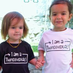 Twins shirts for your 2 Twindividuals. Black &/or white w/contrasting funny design. to 6 years - Funny Sibling Shirts - Ideas of Funny Sibling Shirts - New twin design for your Twindividuals! Twin Baby Gifts, Twin Baby Boys, Boy Girl Twins, Twin Babies, Sibling Shirts, Baby Shirts, Pregnancy Shirts, Kids Shirts, Onesies