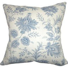 Add timeless cottage-chic appeal to your favorite arm chair or sofa with this lovely pillow, showcasing a blue floral toile motif.