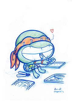 Blue Doodle #43: Michelangelo and his pizza | Flickr - Photo Sharing!