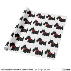 Holiday Home Scottish Terrier Wrapping Paper Jan 9 2017 #junkydotcom #zazzle