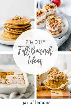 Whether you're getting together with friends, family, or keeping it simple with a late breakfast at home, a cozy brunch with lots of fall-themed recipes is a yummy and fun way to celebrate the weekend. Today, we're sharing 20  Fall Brunch Ideas that are healthy, easy to make, and delicious! Best Brunch Recipes, Fall Recipes, Beef Recipes, Favorite Recipes, Lemon Recipes, Sweets Recipes, Healthy Brunch, Healthy Breakfasts, Ways To Eat Healthy