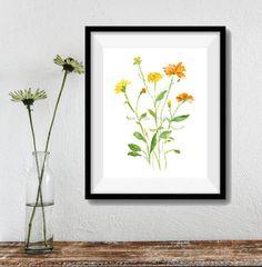 Daisies art print, Daisies watercolor print, watercolor print, botanical print, field flowers art, wild flowers artwork, floral art, yellow
