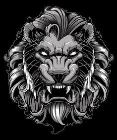 Angry Lion Head Illustration by vectoryourself Tatto Old, Tatoo Art, Lion Tattoo, Tattoo Drawings, Body Art Tattoos, Cool Tattoos, Art Drawings, Dragon Tiger Tattoo, T Shirt Art