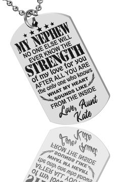 nephew aunt keepsake Gift custom military army dog tag kids Family Gifts idea gift for nephew gifts for him nephew Necklace Son in Law Army Dogs, Nephew Gifts, Nephew And Aunt, Hand Stamped Necklace, Etsy Shipping, Family Gifts, Gifts For Him, Dog Tags, Personalized Gifts