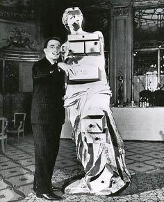 "Dalí and his Venus de Milo with Drawers.        ""The only difference between the immortal Greece and contemporary times is Sigmund Freud, who discovered that the human body, purely platonic at the Greece epoch, nowadays is full of secret drawers that only the psychoanalysis is capable to open.""        - Salvador Dalí"