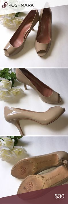 Last chance donating! Vince Camuto Nude Vince Camuto  Nude Patent leather peep toed heels Size •7.5 Condition • some wear on one heel shown in 2nd picture Vince Camuto Shoes Heels